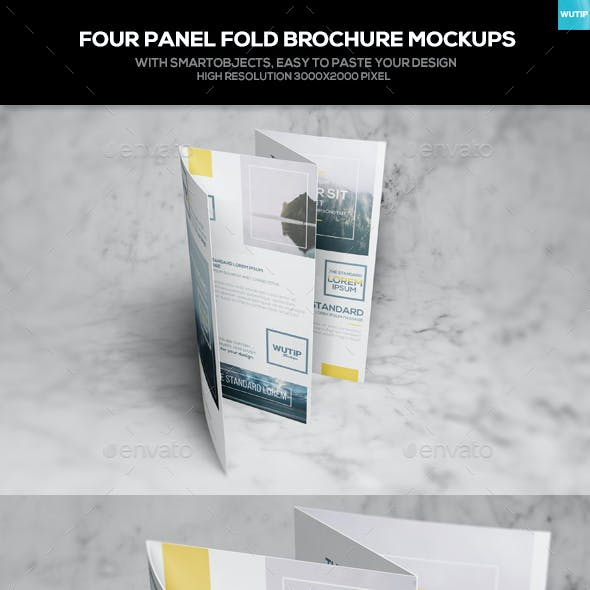 Four Panel Fold Brochure Mockups