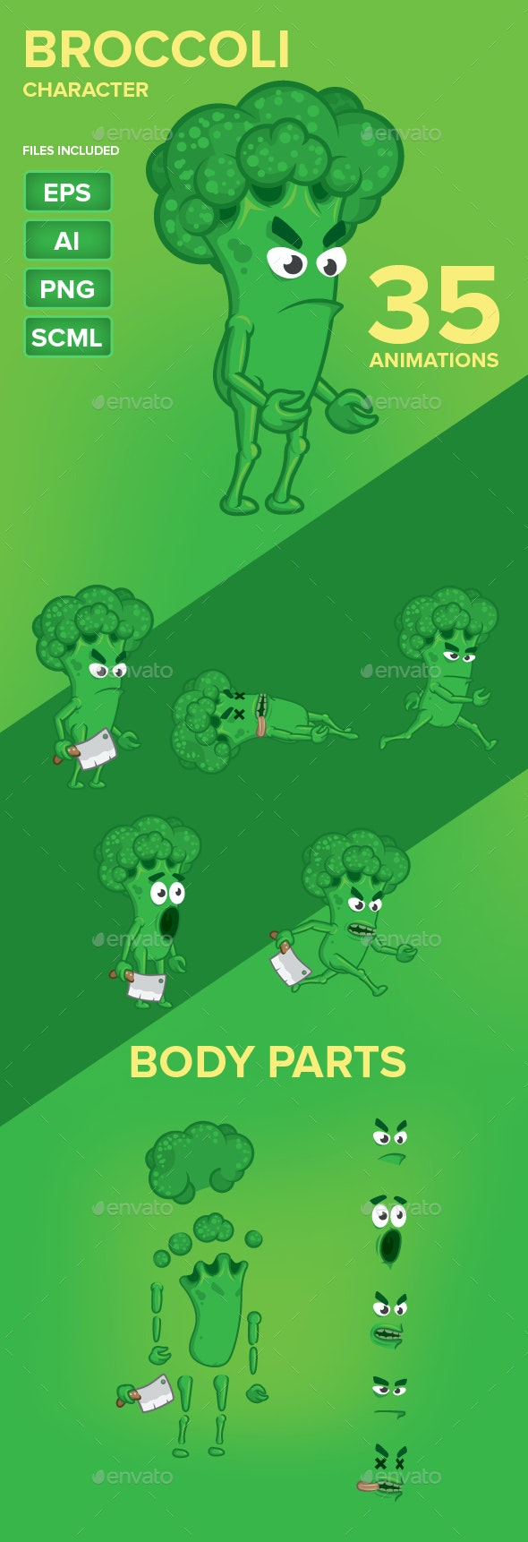 Green Broccoli Character Sprites - Sprites Game Assets
