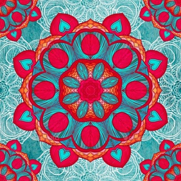 Seamless Pattern With Feathers. Round Kaleidoscope