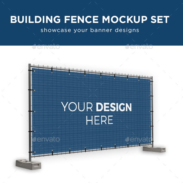 Building Fence Banner Mockup Set