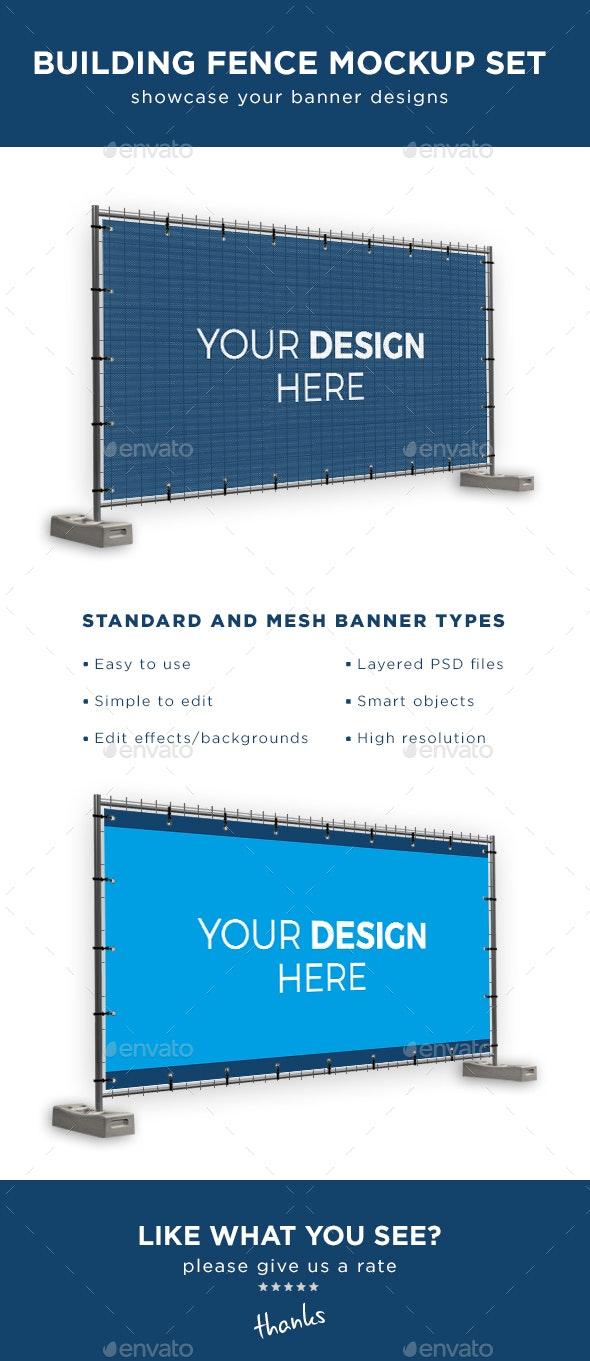 Building Fence Banner Mockup Set