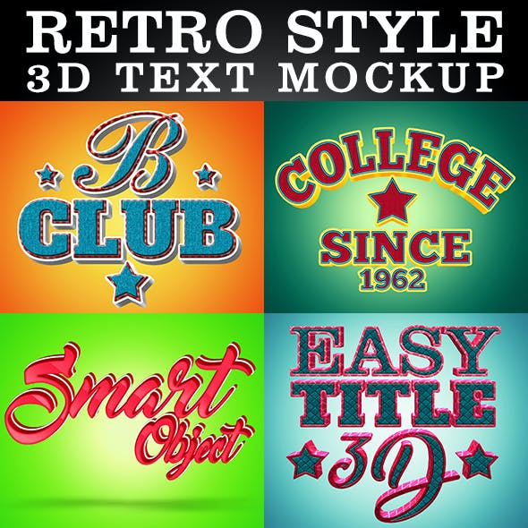 Retro Style 3D Text Mockups