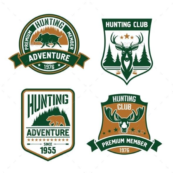 Hunting Sport Club Shield Icons