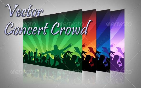 Concert Crowd Vector - People Characters