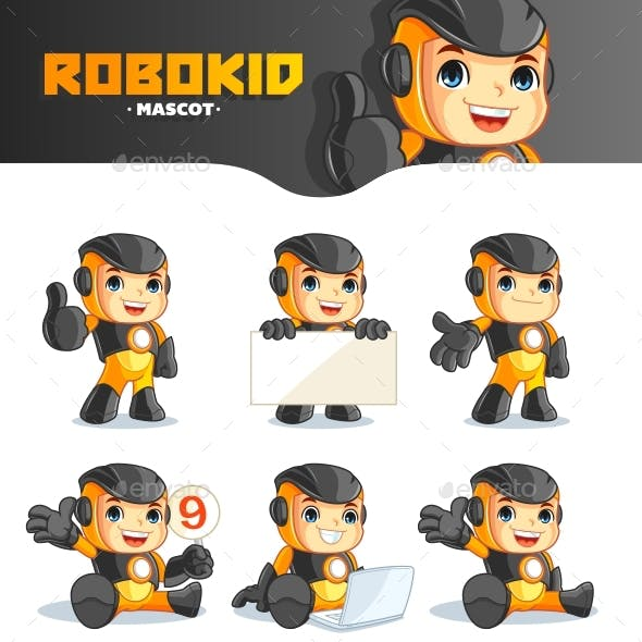 Robokid Mascot Cartoon Vector Illustration