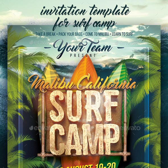 Surf Camp Invitation Poster Template