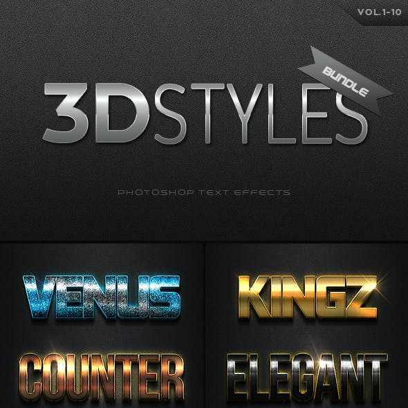 3D Photoshop Text Effects Big Bundle