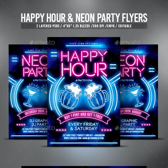 Happy Hour and Neon Party Flyers