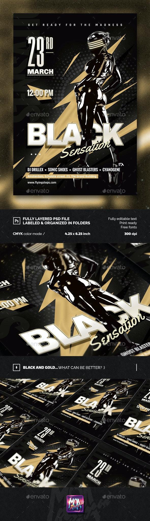 Black Sensation Party Flyer - Clubs & Parties Events
