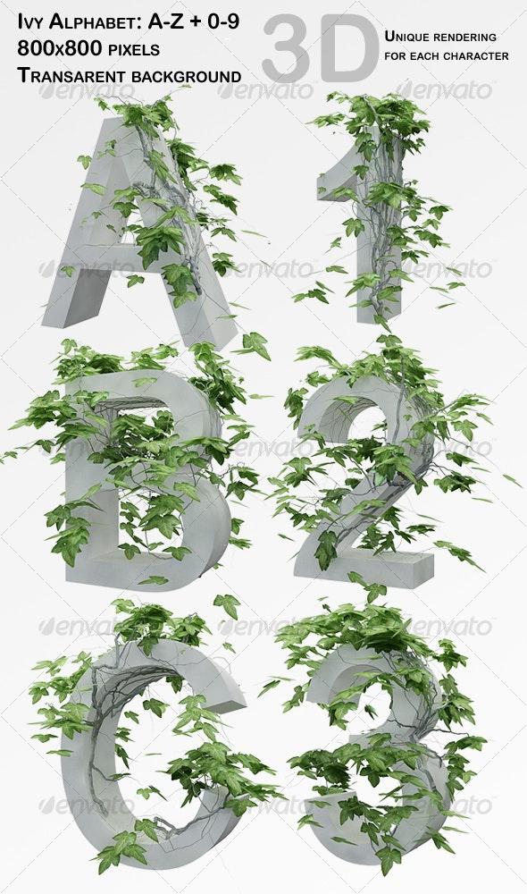 Ivy Alphabet + Numbers - 3D Renders Graphics