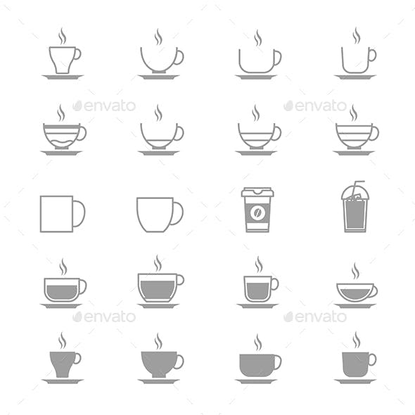 Coffee Cup Vector Icons Line Set Of Vector Design Illustration