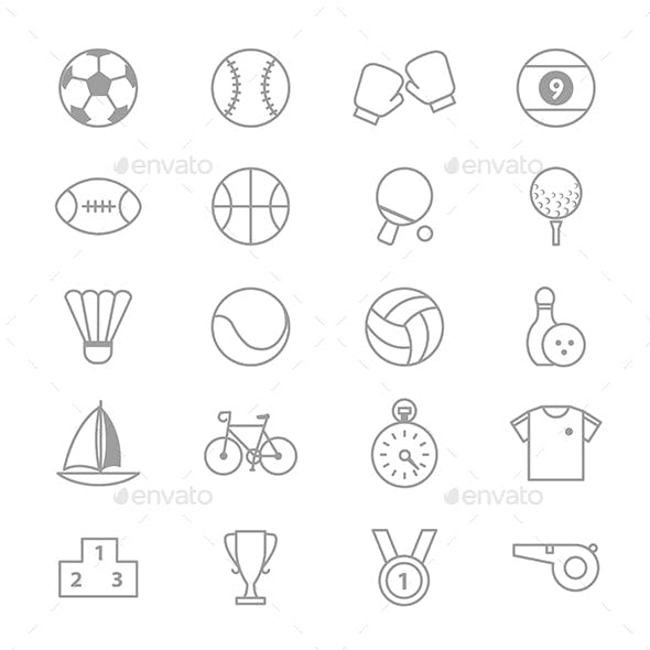 Sport Icons Line Set Of Vector Illustration
