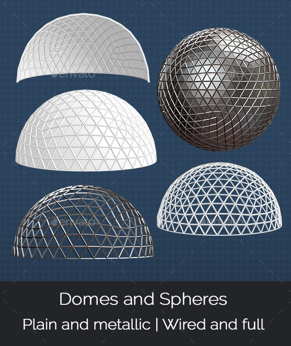 Domes and Spheres - Objects 3D Renders