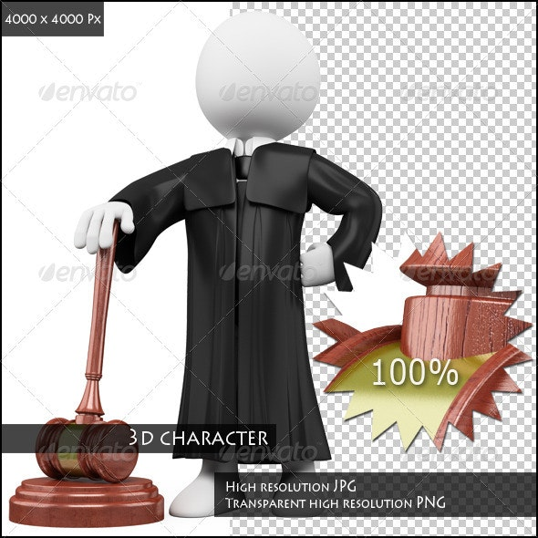 3D Judge with Robe and Hammer - Characters 3D Renders