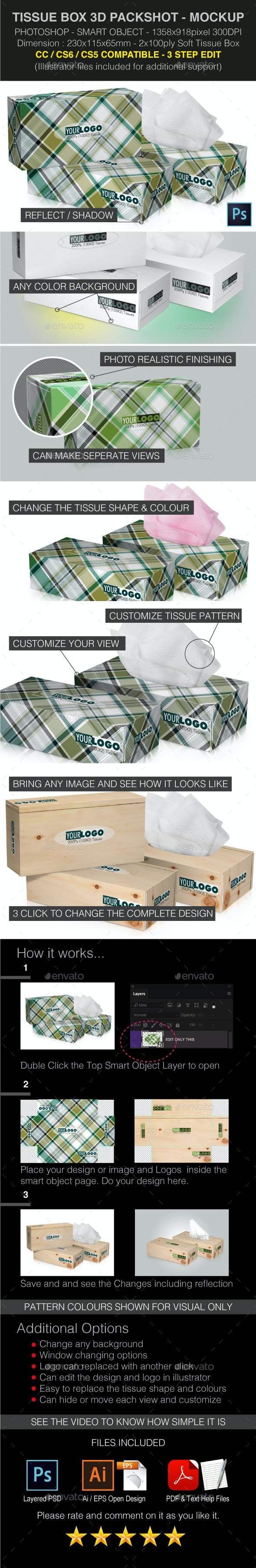 Tissue Box 3D Perspective Mockups PSD - Miscellaneous Packaging