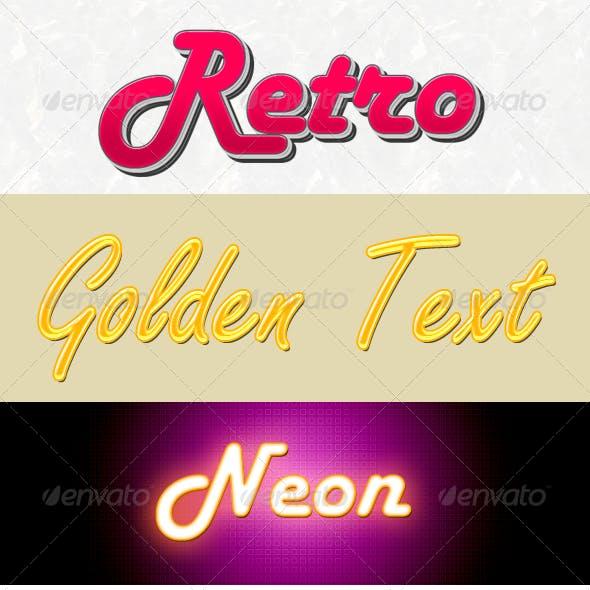 3D Retro, Golden & Neon Texts Action