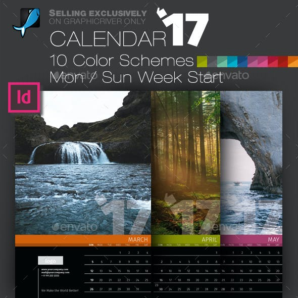 Wall 12 Pages Calendar 2017 with Big Size Photo Background — A3 and Tabloid