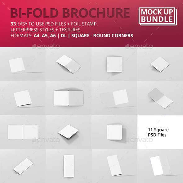 Bi-Fold Brochure Mock-Up Bundle - Round Corner