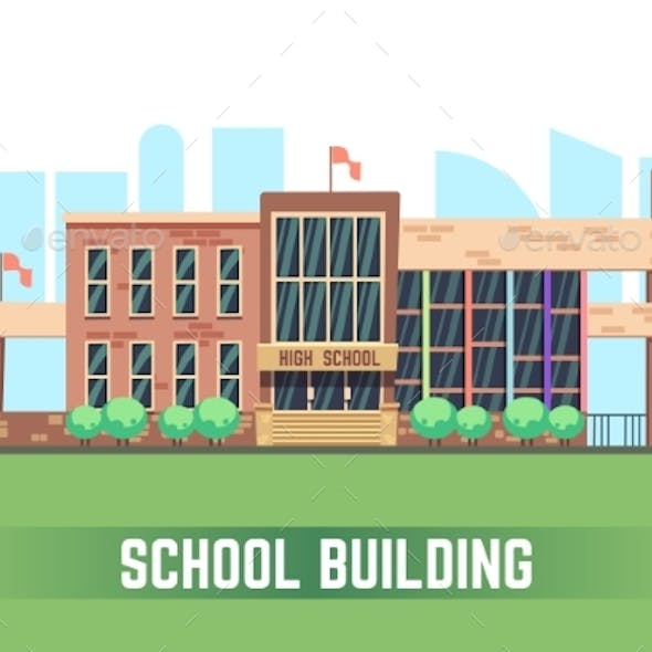 School Building. Vector Flat Education Concept