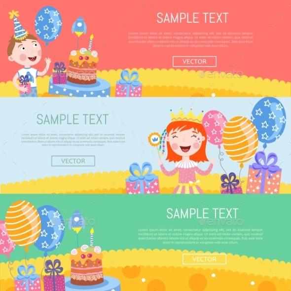 Happy Birthday Banners Vector Illustration - Birthdays Seasons/Holidays