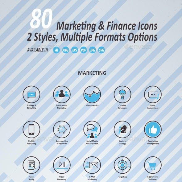 Marketing and Finance Icons Set
