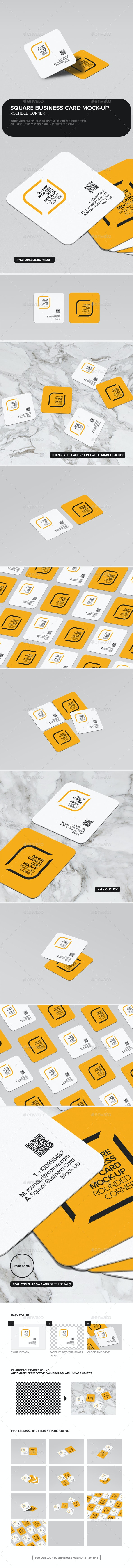 Square Business Card Mock-Up Rounded Corner - Business Cards Print