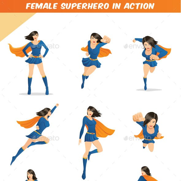 Female Superhero in Action