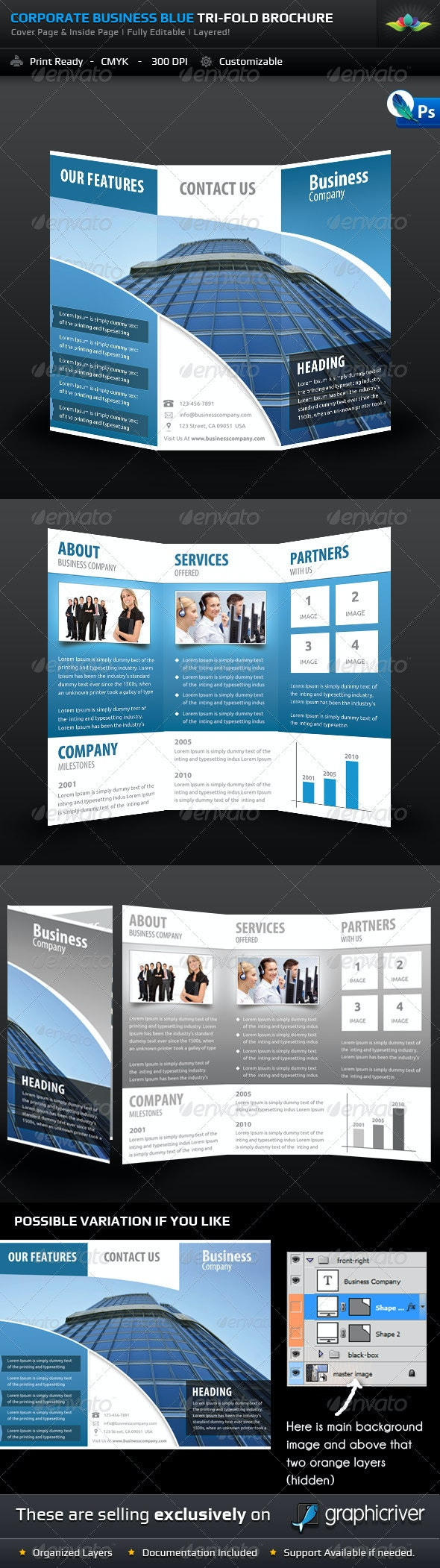 Corporate Business Blue Tri-Fold Brochure - Corporate Brochures