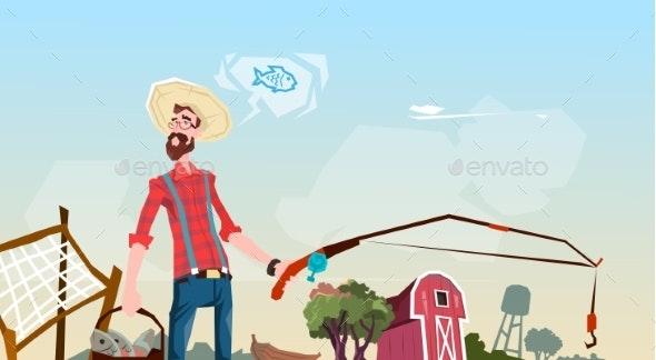 Farmer Fishing Farmland Background - People Characters