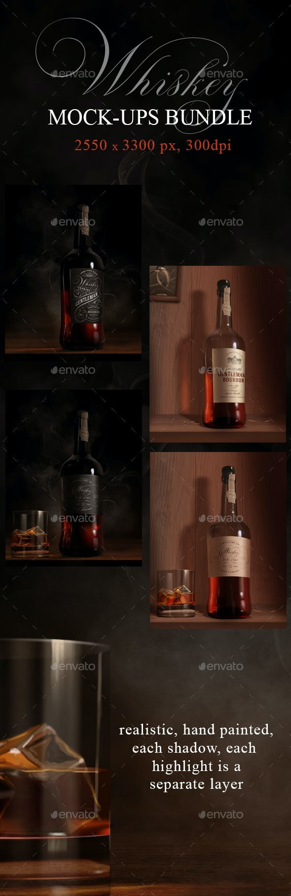Whiskey Bottle Mock-ups - Food and Drink Packaging
