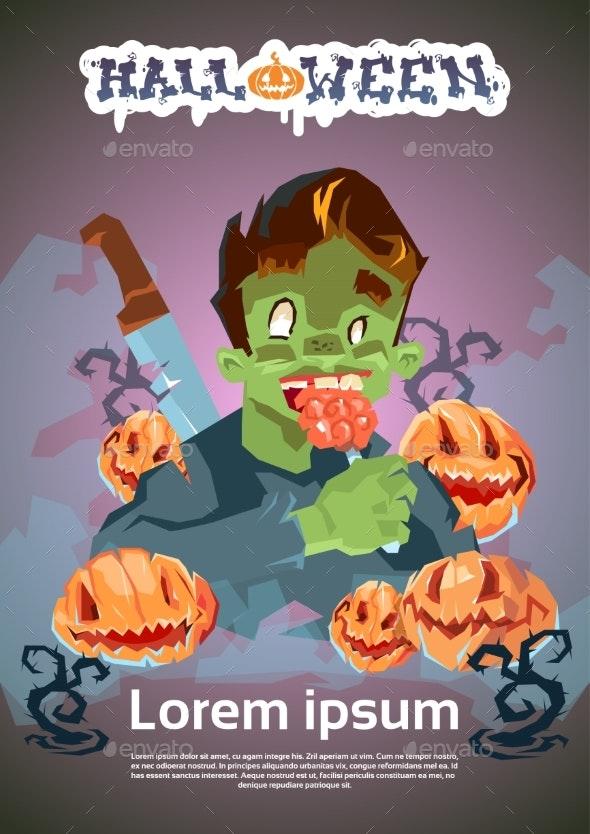 Happy Halloween Banner Invitation Card Zombie Man