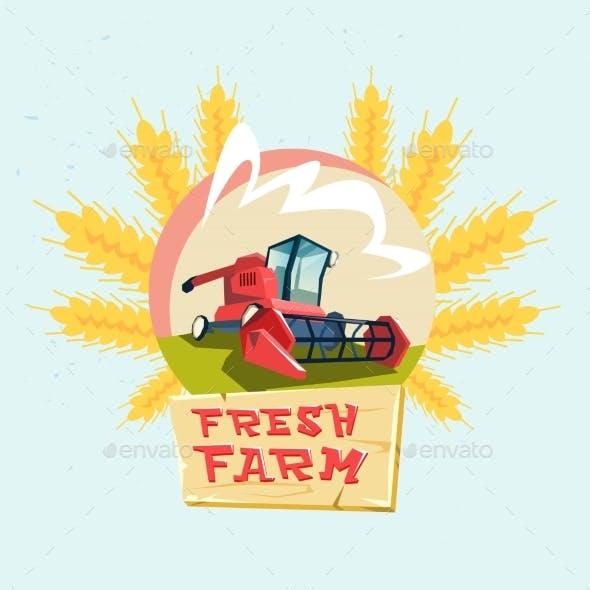 Combine Harvesting Wheat Crop In Field Eco Fresh