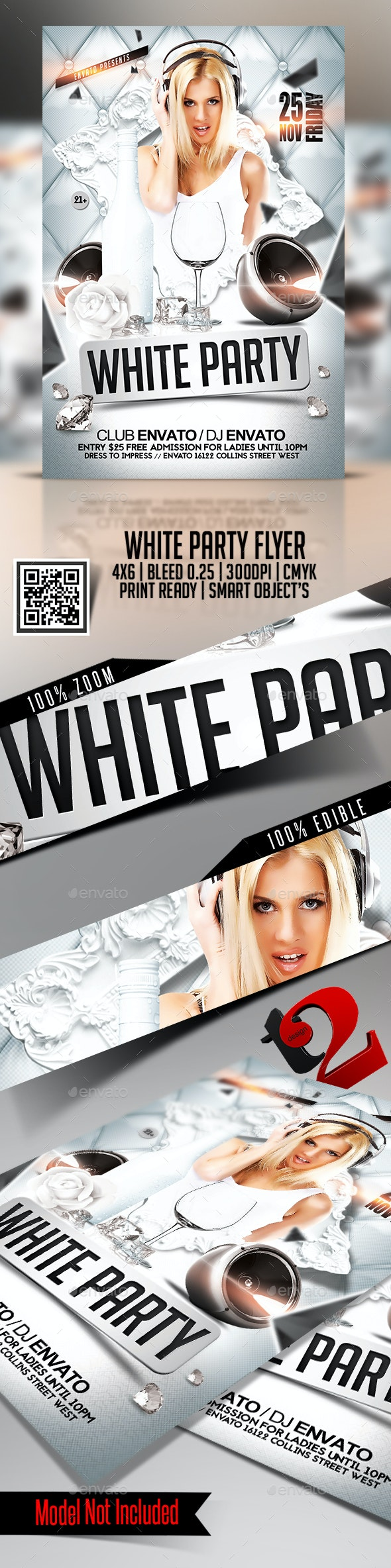 White Party Flyer - Template - Clubs & Parties Events