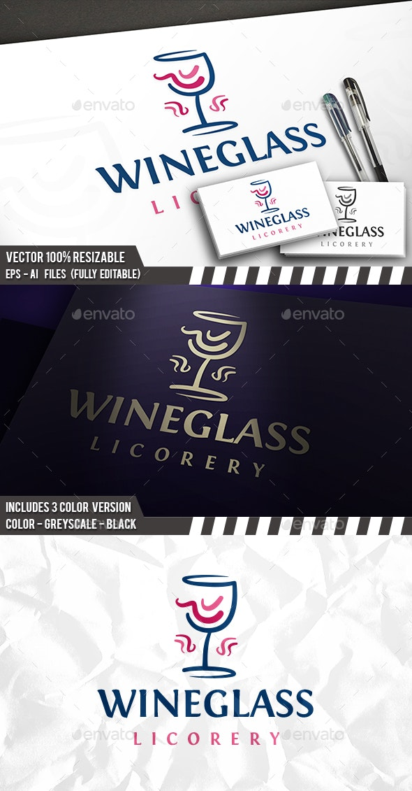 Wine Glass Logo - Food Logo Templates