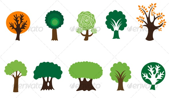 Set of tree symbols - Decorative Vectors