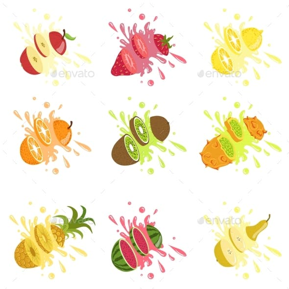 Fruits Cut In The Air Splashing The Juice