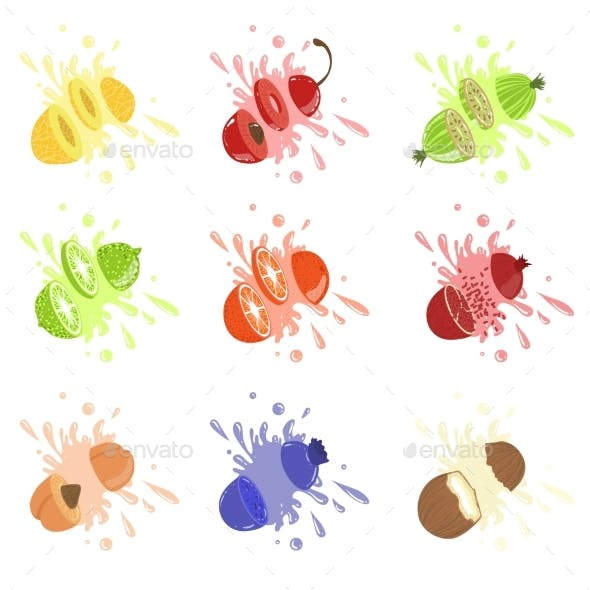 Fruits Cut Bursting With Juice