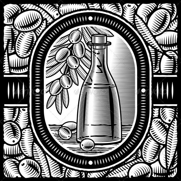 Retro Olive Oil Black And White - Food Objects
