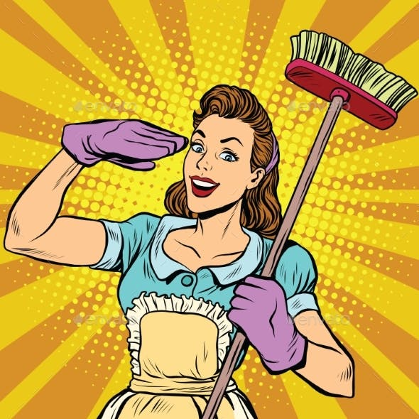 Female Cleaner Cleaning Company Pop Art Retro