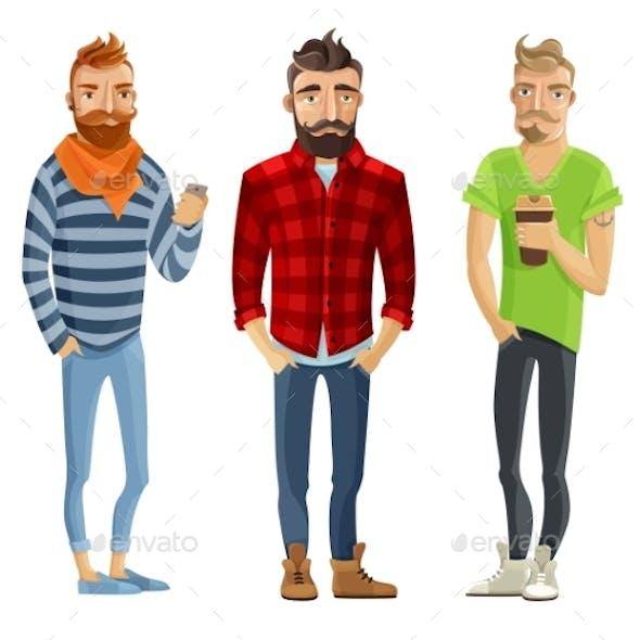 Hipster Cartoon People Set