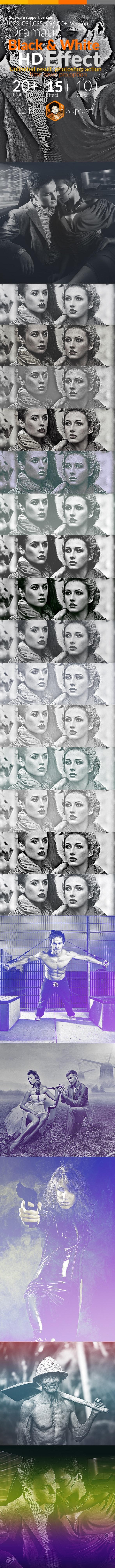 Dramatic Black & White Effect - Actions Photoshop