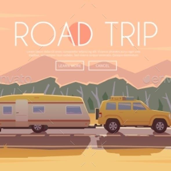 Road Trip. Vector Illustration