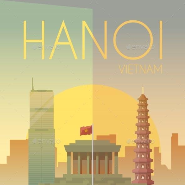 Hanoi. Vector Poster.
