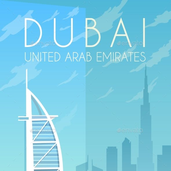 Dubai. Vector Poster.