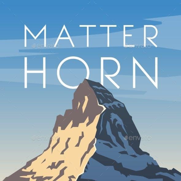 Matterhorn. Vector Poster.