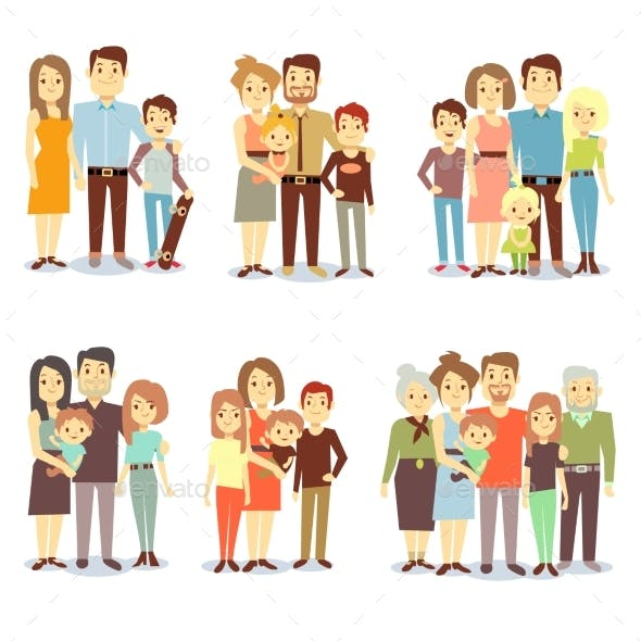 Families Different Types Flat Vector Icons Set