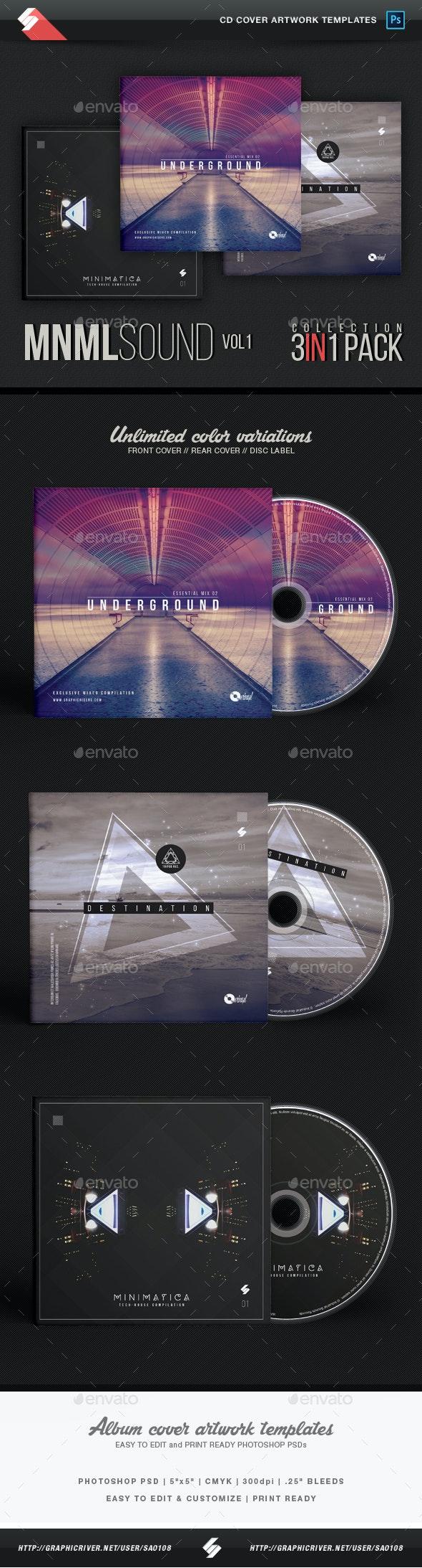 Minimal Sound - CD Cover Templates Bundle - CD & DVD Artwork Print Templates