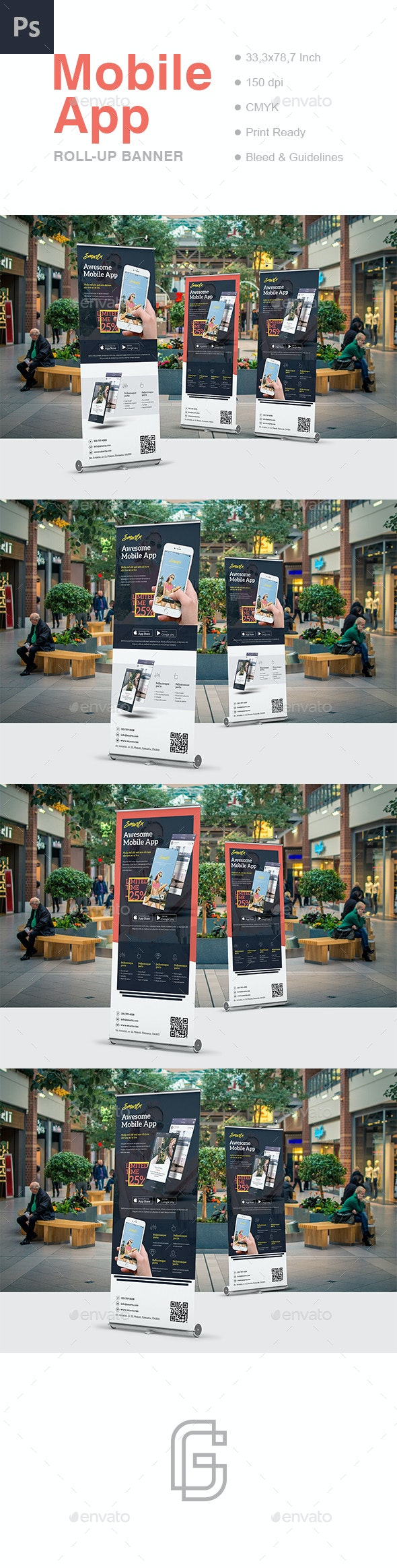 Mobile App Roll-Up Banner Template - Signage Print Templates