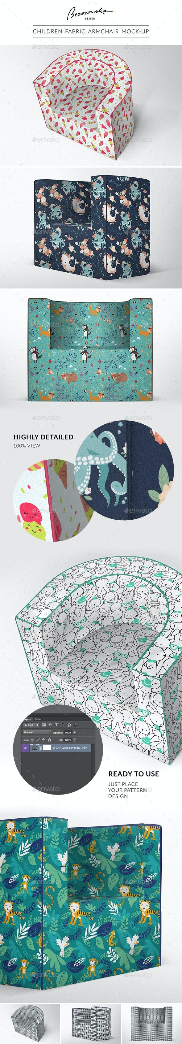Children Fabric Armchair Mock-up - Product Mock-Ups Graphics