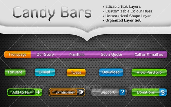 Candy Bars - Buttons Web Elements